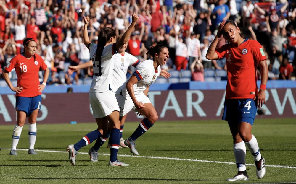 Soccer Football - Women's World Cup - Group F - United States v Chile - Parc des Princes, Paris, France - June 16, 2019 Carli Lloyd of the U.S. celebrates scoring their third goal REUTERS/Christian Hartmann | beIN SPORTS