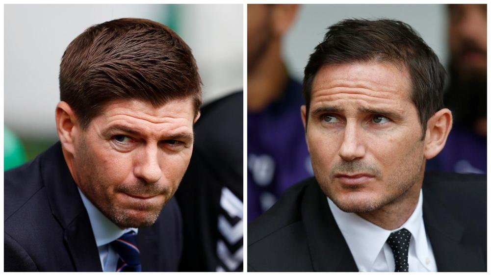 Glasgow Rangers manager Steven Gerrard (left) and Derby County's Frank Lampard (right)