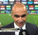 Belgium boss Roberto Martinez reacts to his sides narrow 1-0 defeat to France