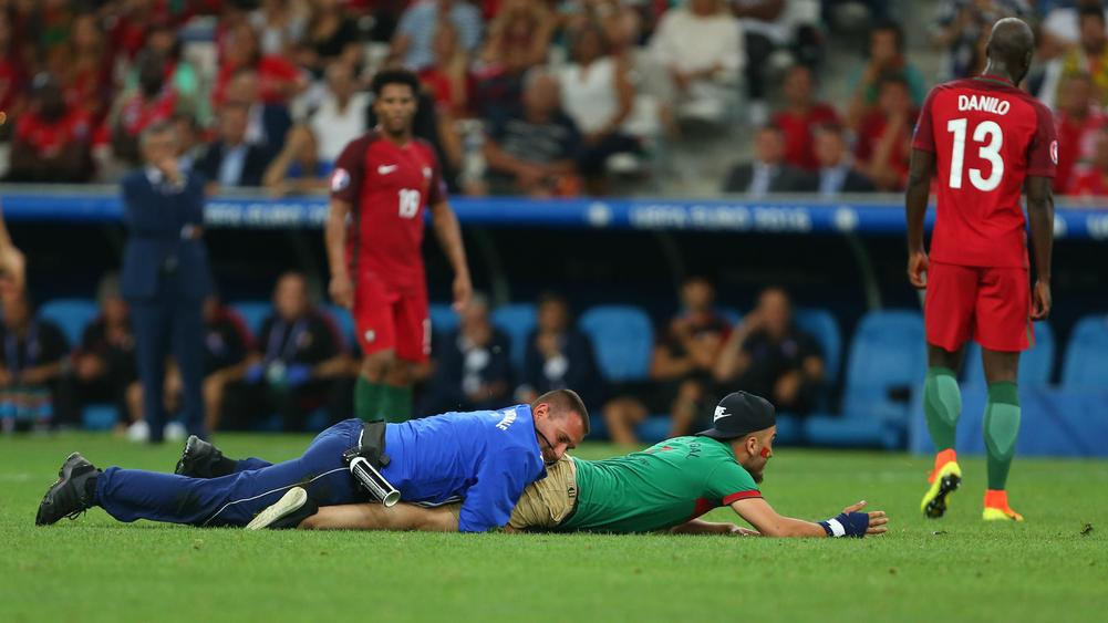 Portugal Poland pitch invasion - cropped
