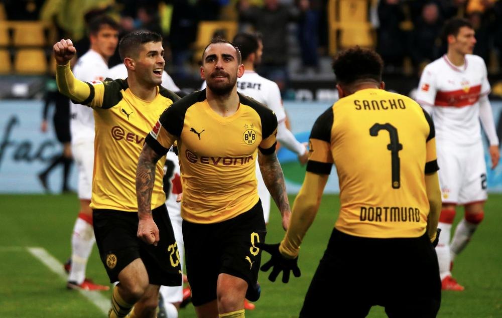 Borussia Dortmund's Paco Alcacer celebrates scoring their second goal with Jadon Sancho and Christian Pulisic REUTERS/Wolfgang Rattay DFL