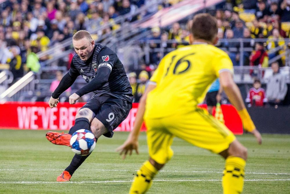 D.C. United forward Wayne Rooney (9) takes a free kick and scores a goal in the first half against the Columbus Crew SC at MAPFRE Stadium, April 24, 2019 | beIN SPORTS USA