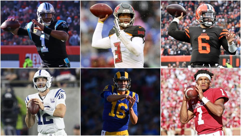 Cam Newton, Andrew Luck, Jameis Winston, Jared Goff, Baker Mayfield and Kyler Murray - cropped