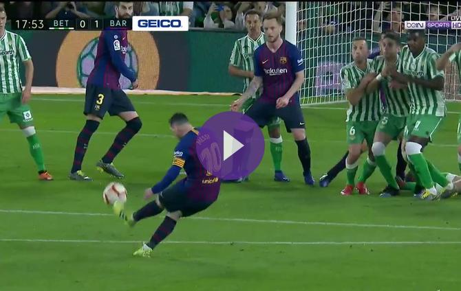 Real Betis 0-1 Barcelona: Messi Bends In Beautiful Free Kick For Opening Goal