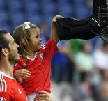 Gareth Bale celebrates with his daughter
