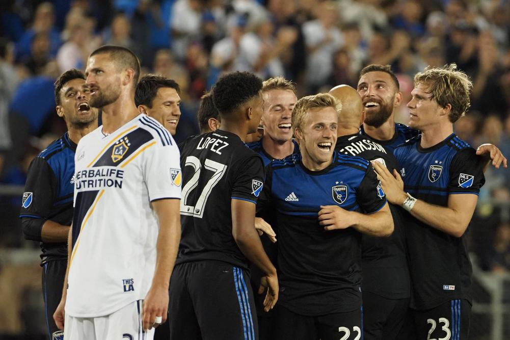Jun 29, 2019; San Jose, CA, USA; San Jose Earthquakes players celebrate after an own goal by the LA Galaxy during the second half at Stanford Stadium. | beIN SPORTS