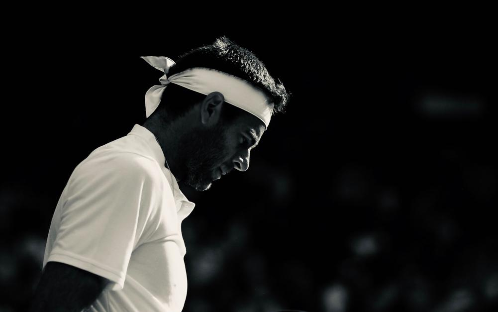 Juan Martin del Potro in black and white is disappointed as he will be unable to participate in the Miami Open due to knee injury | beIN SPORTS USA