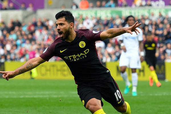 Sergio Aguero (Manchester City): The Argentinian striker has been on form against Man Utd notching and impressive 8 goals between 2011 and today. Getty Images.