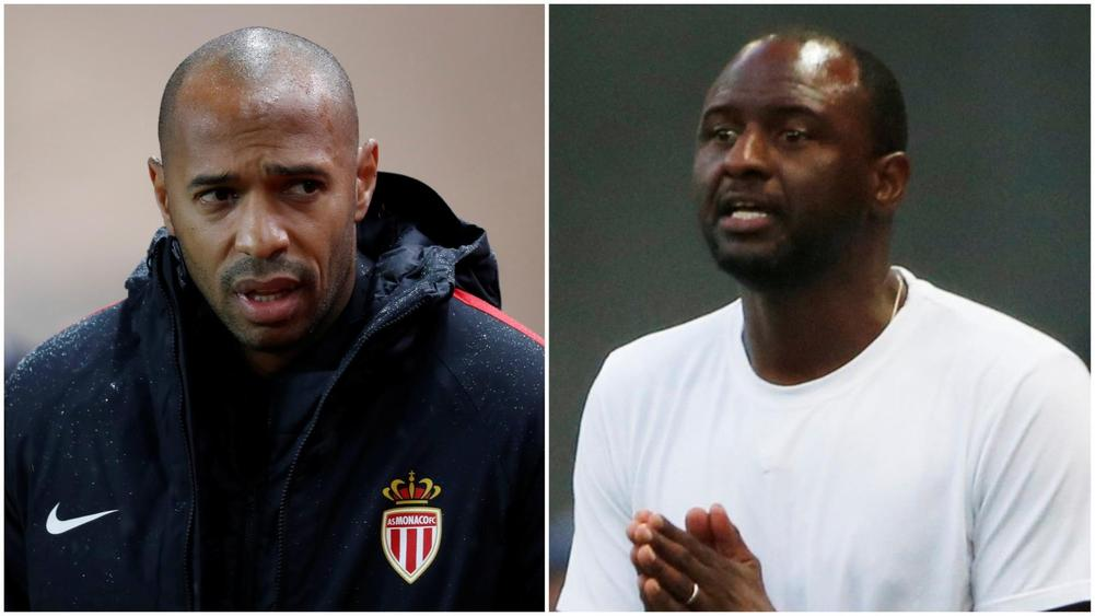 Monaco manager Thierry Henry (left) and his Nice counterpart, and former Arsenal and France teammate, Patrick Vieira.