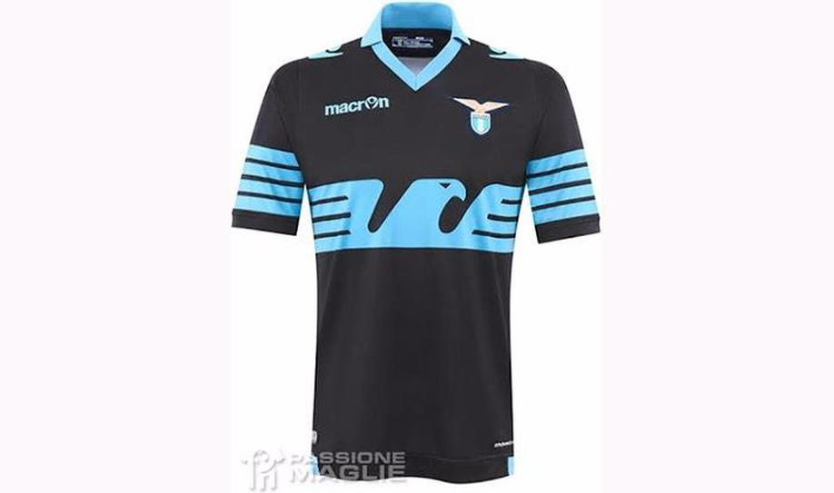 43272a19fe2 11/11 Lazio (Macron): The new SS Lazio 2015-2016 Away Kit is mainly black  with a sky blue stylized eagle on the front, similar to Lazio's 115-years  ...