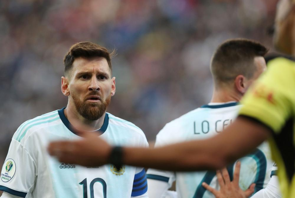 Argentina's Lionel Messi reacts after being shown a red card by referee Mario Diaz de Vivar during the Copa America third-place playoff game with Chile, July 6, 2019 | beIN SPORTS USA