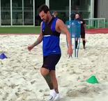 Messi Trains in Sand Pit Ahead of Barca Return