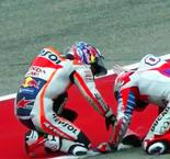 Dani Pedrosa Slams His Bike Against Andrea Dovizioso