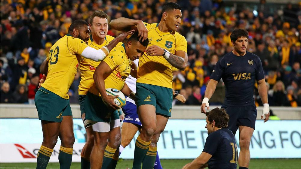 Australia 45 Argentina 20: Late surge sees Wallabies past Pumas