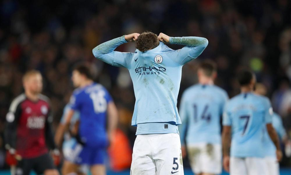 Manchester City's John Stones looks dejected after losing 2-1 to Leicester City