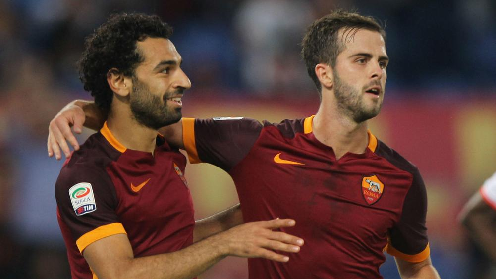 Mohamed Salah and Miralem Pjanic Roma - cropped
