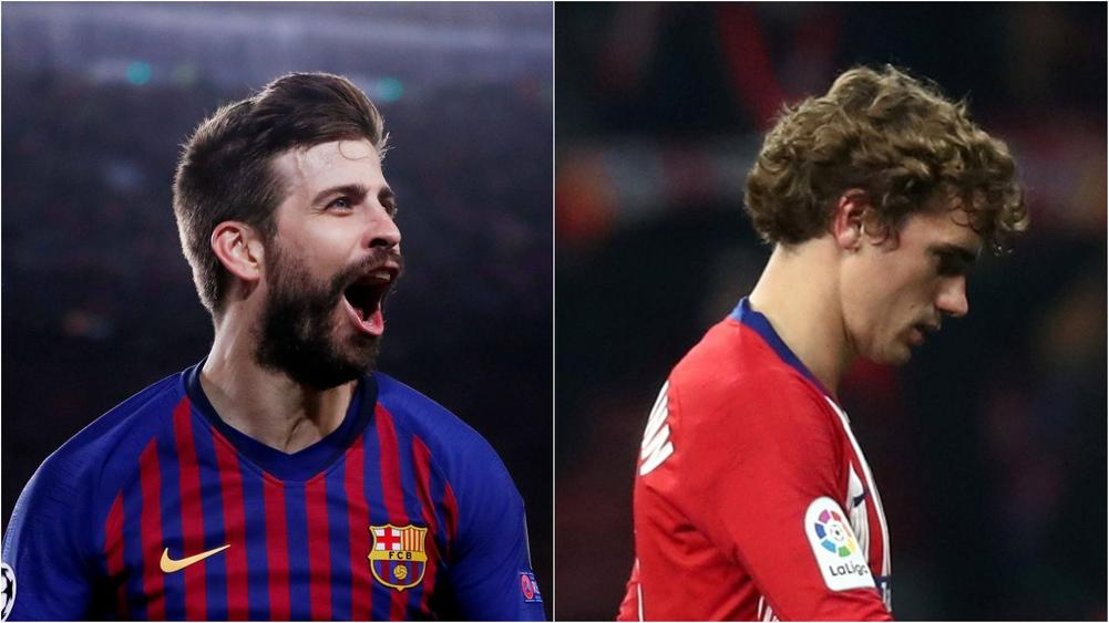 Antoine Griezmann looking down on the soccer pitch while Gerard Pique expresses excitement | beIN SPORTS USA