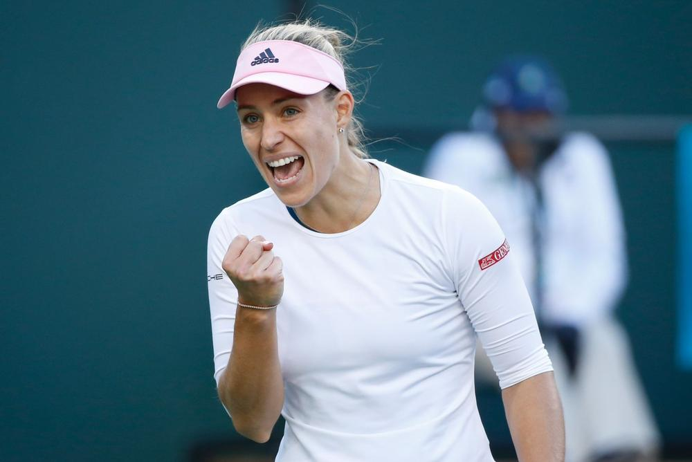 Angelique Kerber is excited on the court after she held off Venus Williams in straight sets at the Indian Wells Semifinals | beIN SPORTS USA