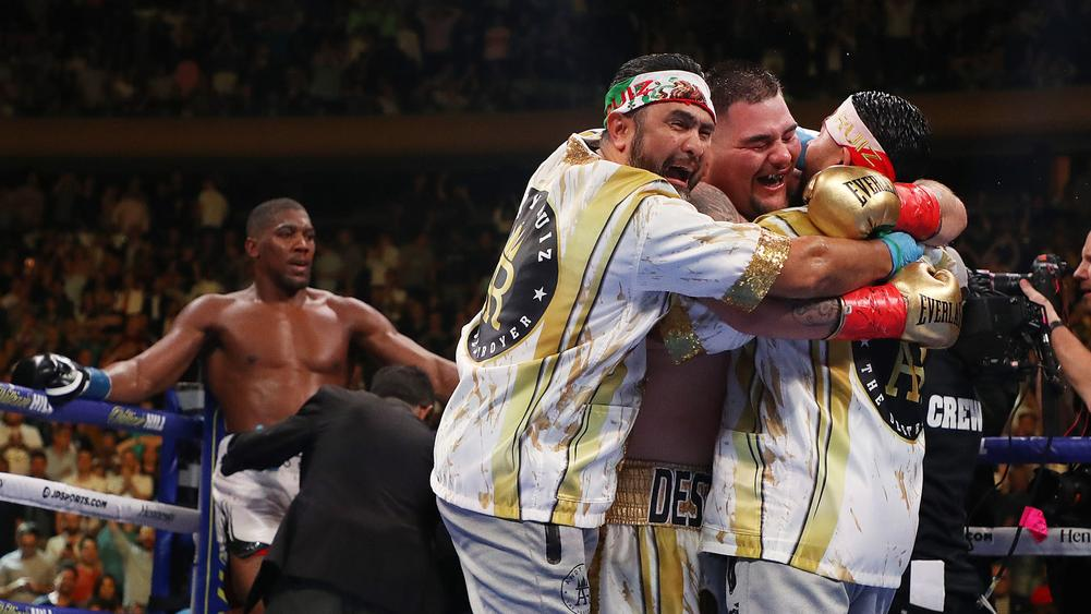 Andy Ruiz Jr. (right) celebrates after his stunning win over Anthony Joshua