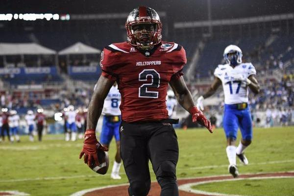 WKU Hilltoppers wide receiver Taywan Taylor (2) tiptoes for the end zone but is called out of bounds at the 5 yard line during Boca Raton Bowl game between the Memphis Tigers vs the WKU Hilltoppers, Tuesday, December 20, 2016 at FAU Stadium in Boca Raton