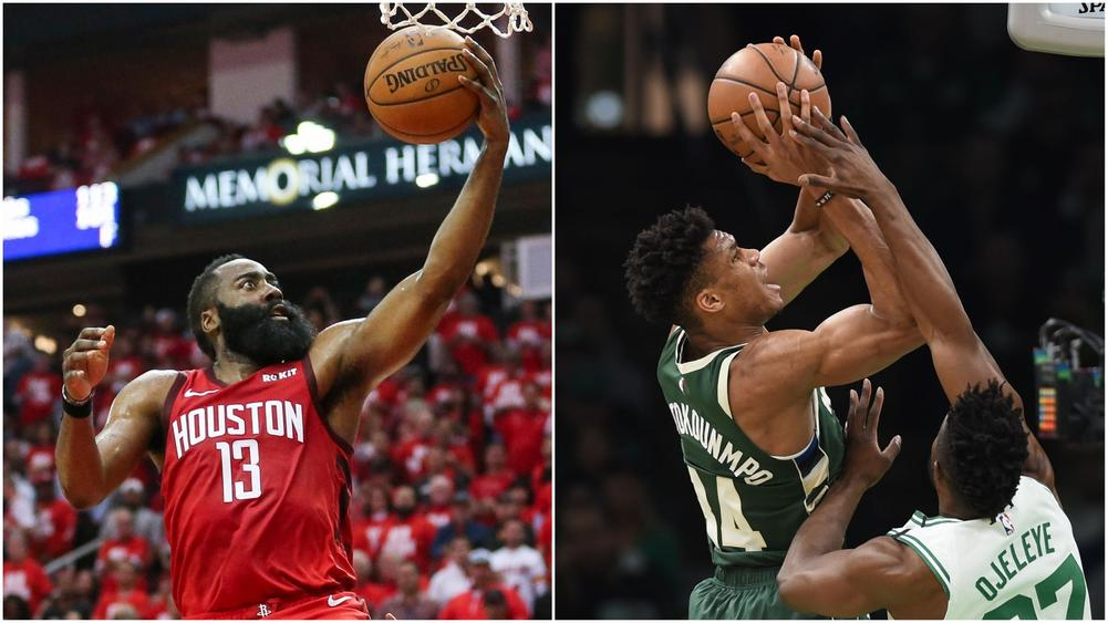 Houston Rockets guard James Harden (13) shoots the ball in Game 4 against Golden State Warriors, Milwaukee Bucks forward Giannis Antetokounmpo (34) in action against Boston Celtics, May 6, 2019   beIN SPORTS USA