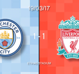 Manchester City 1-1 Liverpool in words and numbers