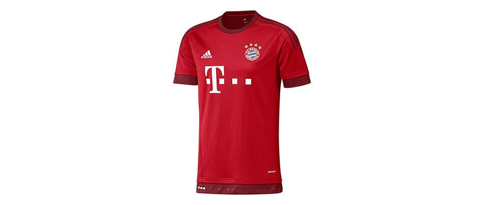 Bayern Munich (Adidas) The new FC Bayern München 2015-2016 Home Kit  features the main color  fcb true red . The iconic 3-stripes on the  sleeves 5dba234a65cfd
