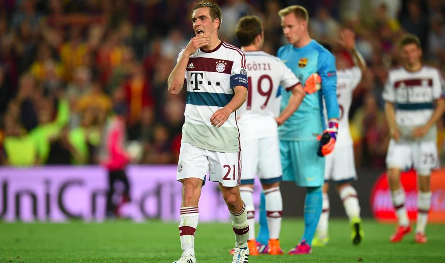 Philipp Lahm coming to terms with 3-0 defeat at Camp Nou in 2015.