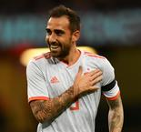 Alcacer bags double as Spain sinks Wales