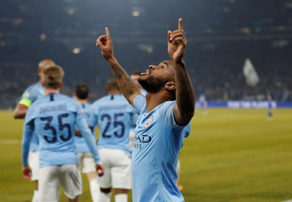 Manchester City's Raheem Sterling celebrates after scoring the winning goal against Schalke