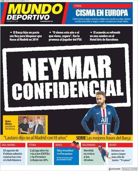 Neymar on the front page of Mundo Deportivo