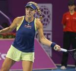 Angelique Kerber battles back from a set down to advance to Qatar Total Open Quaters