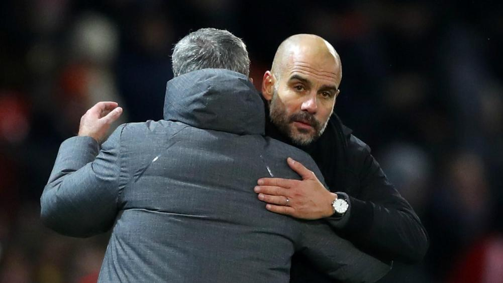 Jose Mourinho with Pep Guardiola
