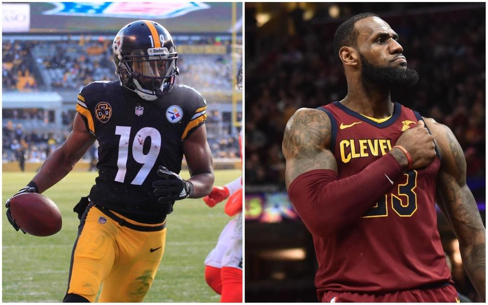 533102cea JuJu Smith-Schuster and Le Veon Bell have been recruiting LeBron James to  the Pittsburgh Steelers on social media .