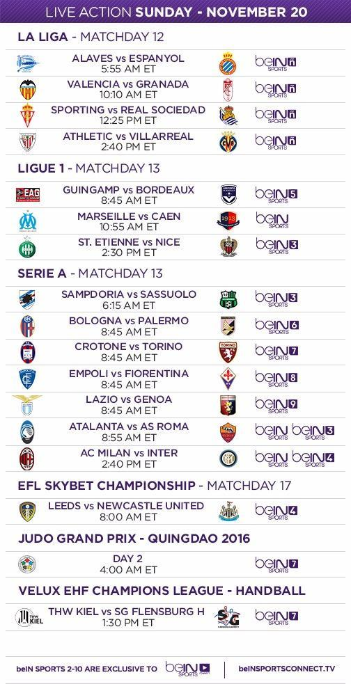 beIN SPORTS TV Schedule