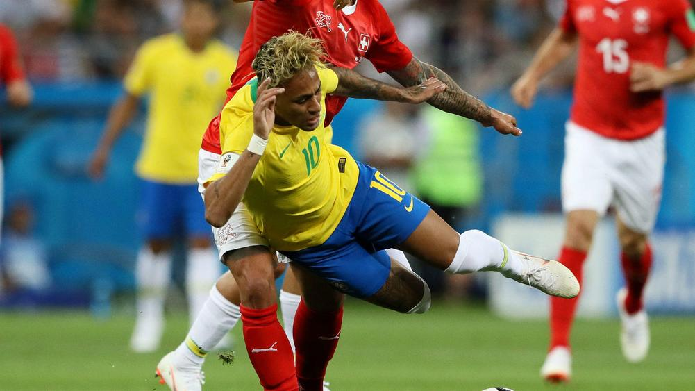 Tite takes a tumble celebrating Brazil goal at World Cup