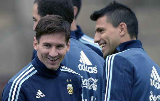 Lionel Messi and Sergio Aguero - cropped