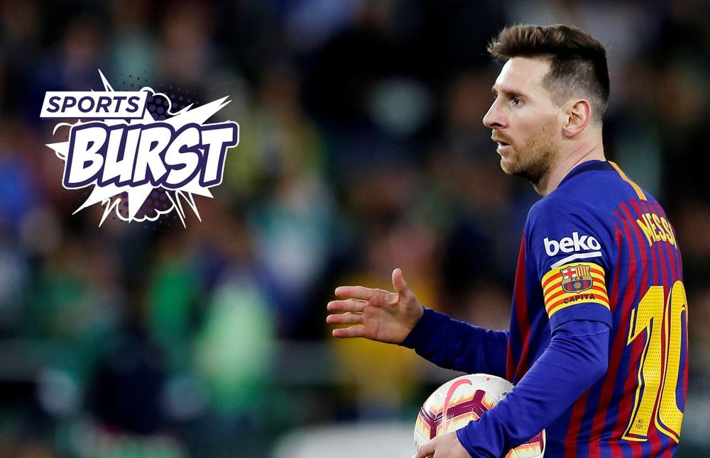 Leo Messi holding a soccer ball on the soccer pitch in a battle against Real Betis | beIN SPORTS USA