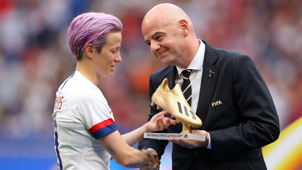 Megan Rapinoe and Gianni Infantino - cropped