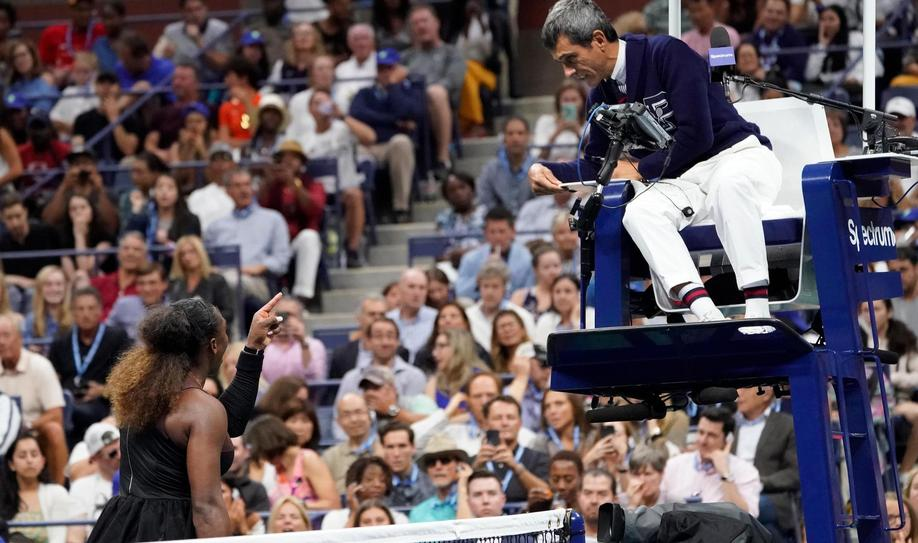 Serena Williams of the USA argues with chair umpire Carlos Ramos while playing Naomi Osaka of Japan in the women's final on day thirteen of the 2018 U.S. Open tennis tournament at USTA Billie Jean King National Tennis Center - beIN SPORTS