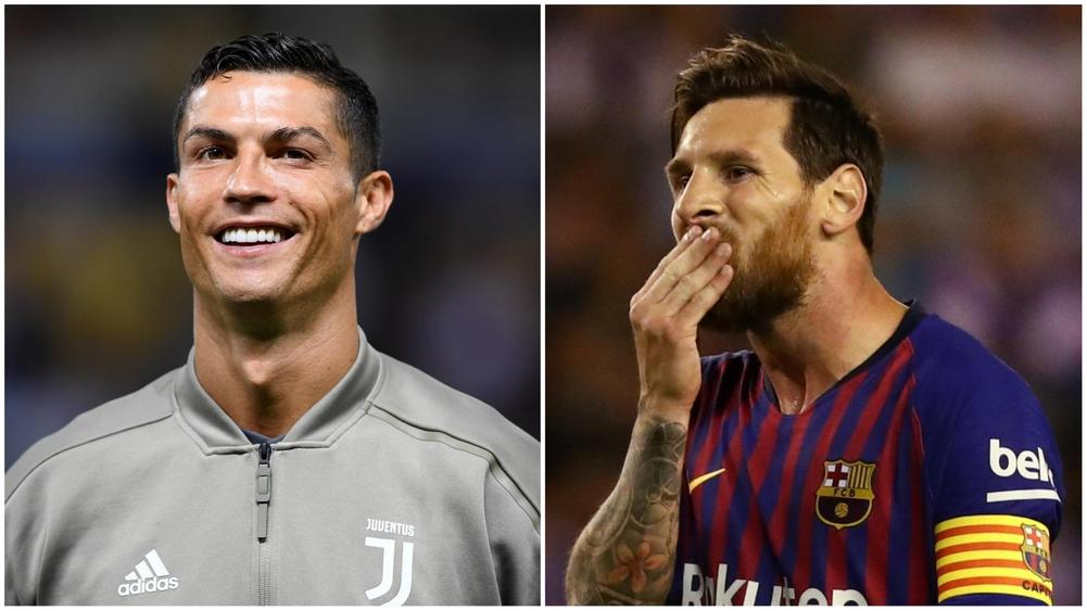Cristiano Ronaldo smiles ahead of Serie A fixture between Juventus and Parma; Lionel Messi reacts during a Barcelona La Liga clash.