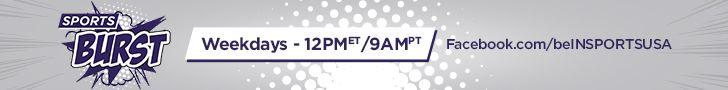 Sports Burst banner for the digital television show on beIN Sport's Facebook page featuring logo - show is on Weekdays at noon | beIN SPORTS