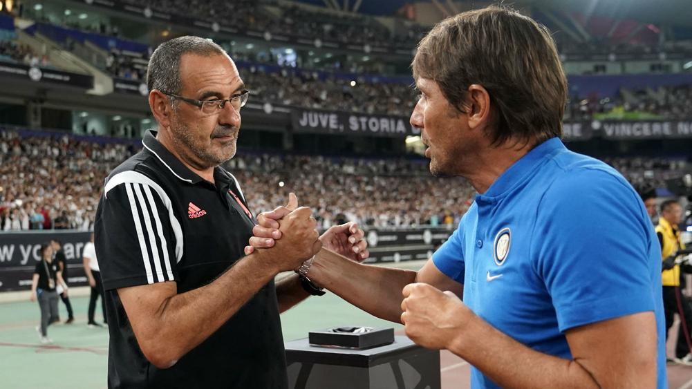 Maurizio Sarri (left) and Antonio Conte - cropped