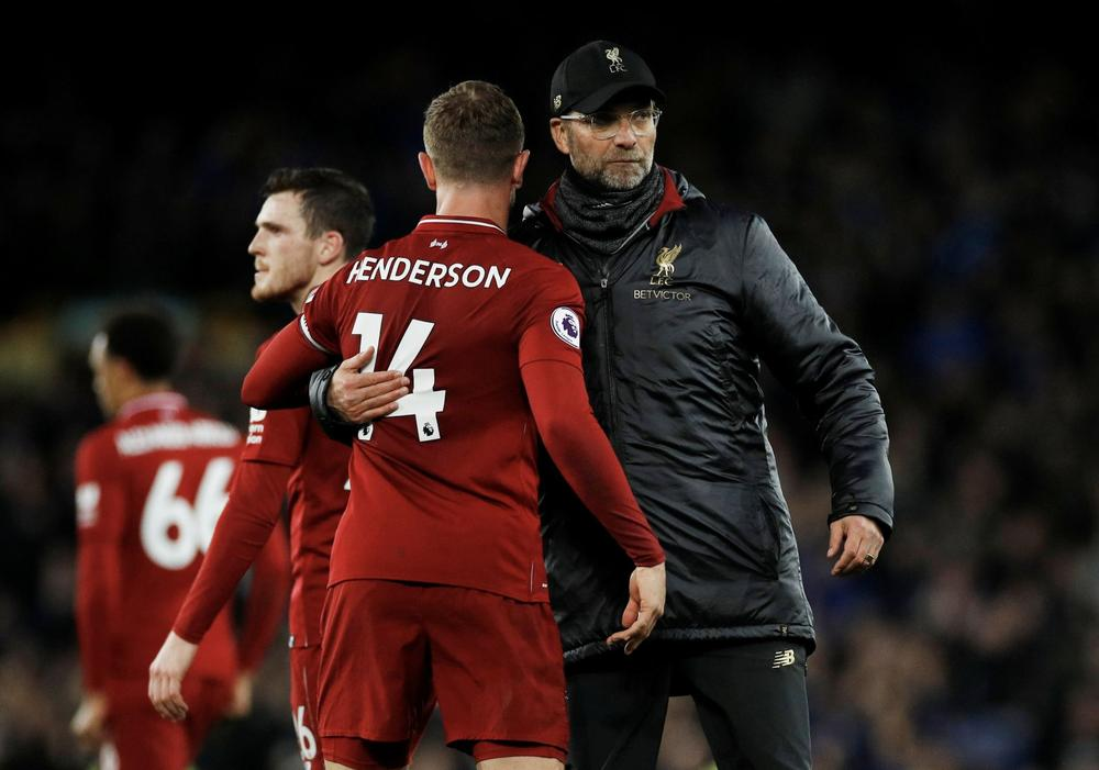 Liverpool manager Juergen Klopp and Liverpool's Jordan Henderson after the match REUTERS/Phil Noble