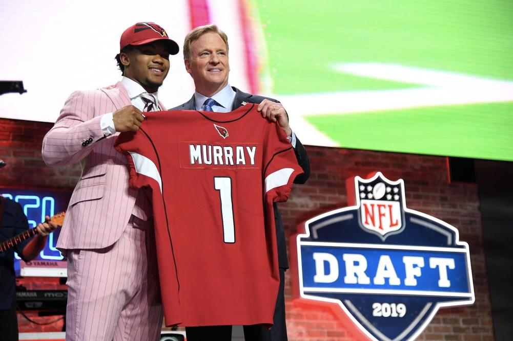 Apr 25, 2019; Nashville, TN, USA; Kyler Murray (Oklahoma) is selected as the number one overall pick to the Arizona Cardinals in the first round of the 2019 NFL Draft in Downtown Nashville. | beIN SPORTS