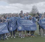 Leicester players celebrate title at training