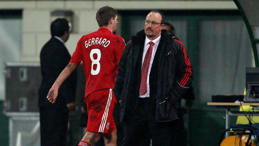 Steven Gerrard and Rafael Benitez Liverpool - cropped